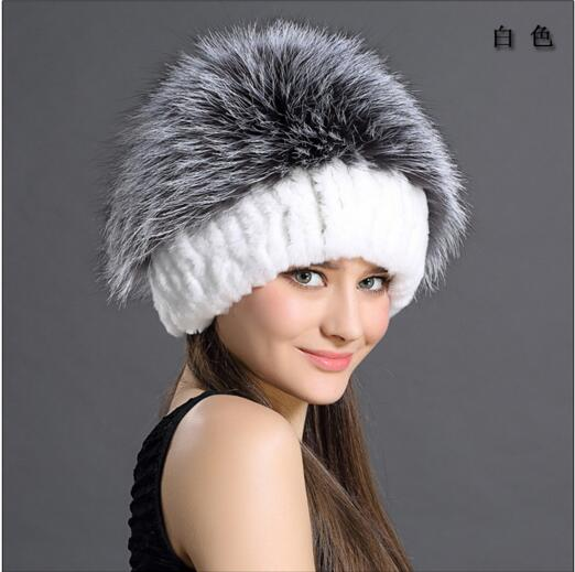 New in women fashion thick and warm rabbit and fox fur winter knitted hat high quality k8 rabbit hair lady autumn winter new weaving small pineapple fur hat in winter to keep warm very nice and warm comfortable