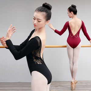 Image 4 - レース綿バレエレオタード女性背中の開いたバレエダンスの摩耗ガール大人のダンスの服黒体操レオタードスーツ