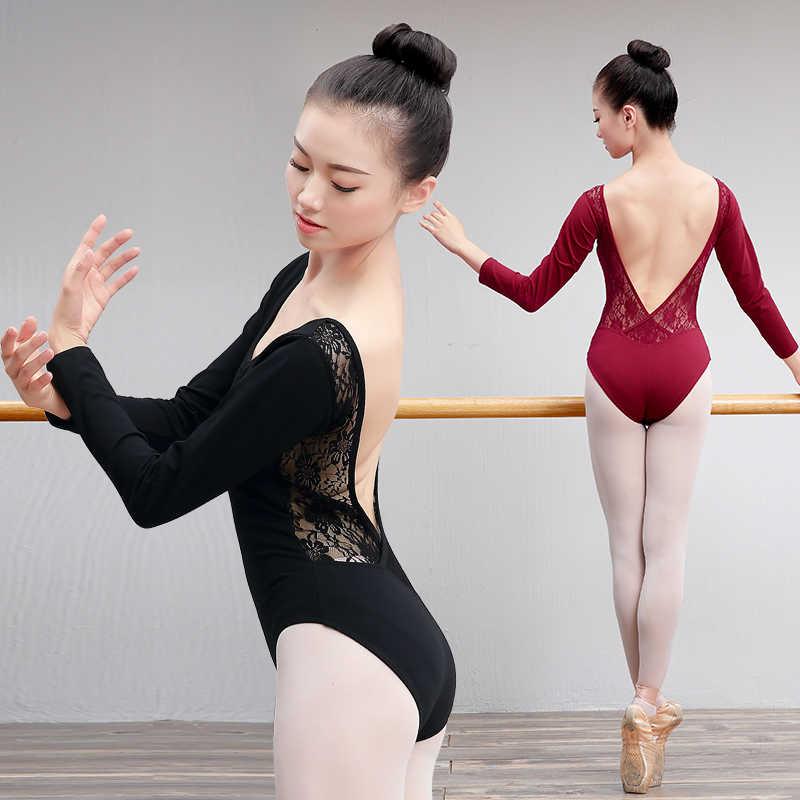 Đầm ren Bông Ba Lê Leotard Hở Lưng Nữ Váy Múa Mặc Cô Gái Trưởng Thành Nhảy Dance Đen Thể Dục Dụng Cụ Leotard Bodysuit