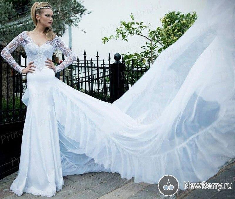 2015 Bride font b Dress b font For Women Fashionable V Neck Top Lace Sweep Train