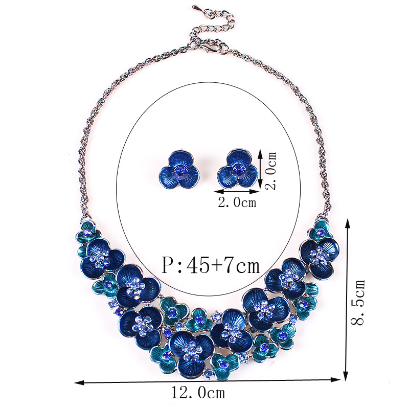 Free Shipping Vintage Blue/Black/Fuchsia Short Choker Necklace Crystals Necklace Earrings Sets Bridal Jewelry 41036