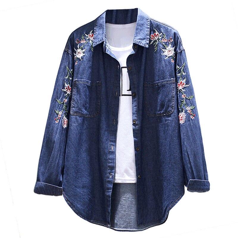Denim   Jacket   women   jacket   fashion denim shirt tops long sleeves blue vintage boho hippie chic embroidery   basic     jackets   clothing