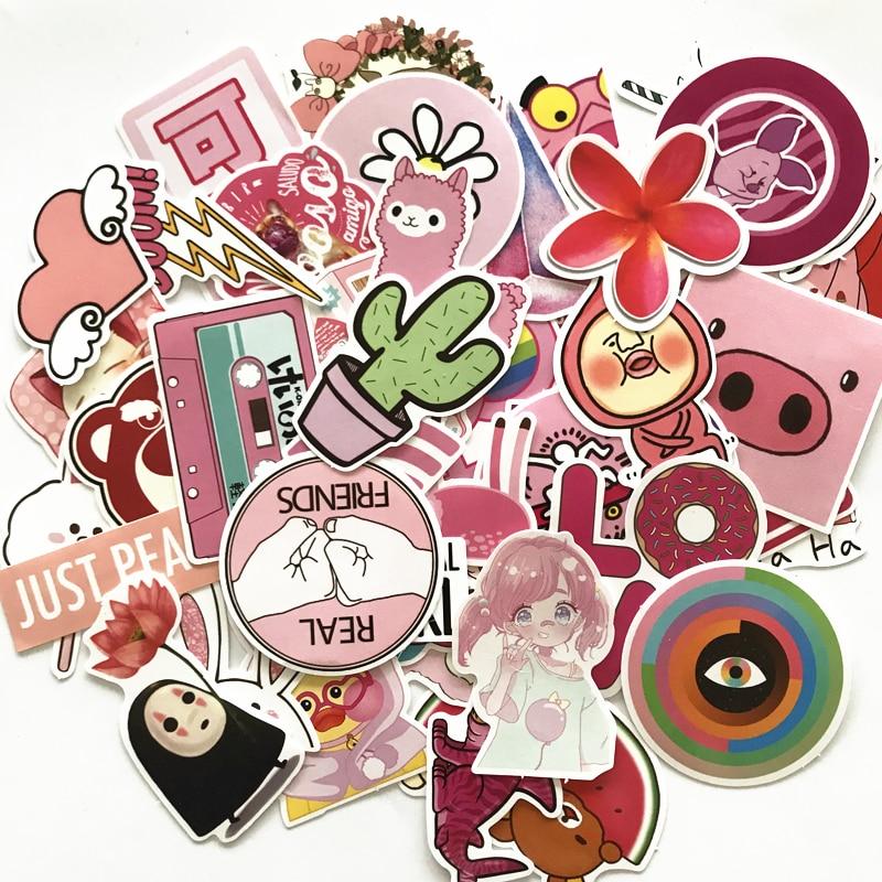 50pcs pink cartoon cute Rilakkuma Mix Laptop Stickers DIY Sticker for Kids Toys Cars Phone Laptop Bicycle Waterproof
