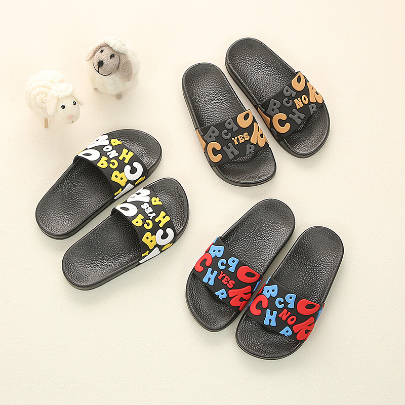 Kids Pvc Slippers Boys Letter Print Flip Flop Toddler Home Sandals Shoes Girls Indoor Shoe Casual Non Slip Flat Beach Shoes in Slippers from Mother Kids