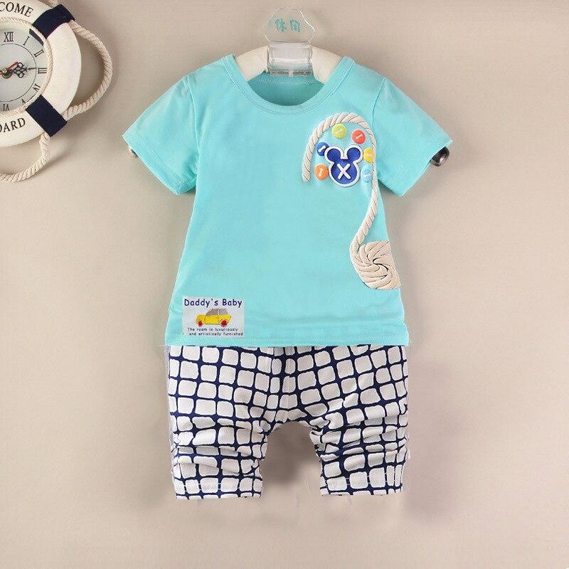 Meninas Do Bebê verão Conjuntos de Roupas Meninos Meninas T-shirt de Algodão de Moda e Calças Curtas Ternos Roupa Dos Miúdos Define Traje Para 0-5 anos