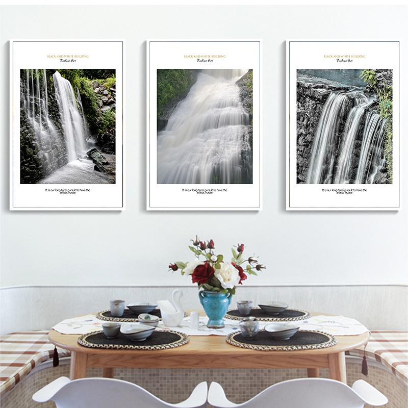 Elegant Poetry Modern Minimalist Beautiful Waterfall Scenery Canvas Painting Print Picture Poster Mural Home Decoratio