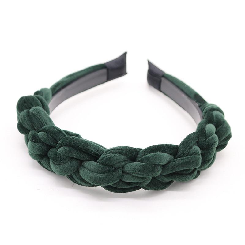 2020BD Wide Braided Velvet 3cm Wide Plain Design Hairbands Women Hair Accessories Winter Hairbands