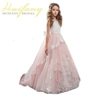 Elegant PinkFirst Communion Dresses For Girls Princess Children Lace Applique Beaded Flower Girls Dresses For Kids