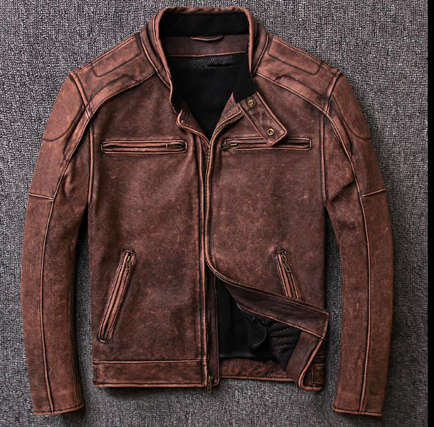 Free shipping.5XL Plus size Brand Classic biker cow leather jacket man,100% genuine leather jackets,vintage quality men sales dhl free shipping brand clothing cow leather long jackets men s genuine leather black casual jacket fashion classics
