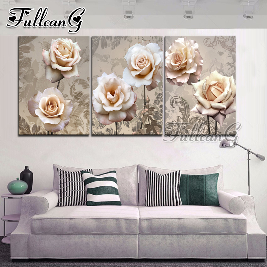 FULLCANG diy 5d diamond embroidery rose flower triptych painting 3 piece full square/round drill mosaic pattern home decor FC658