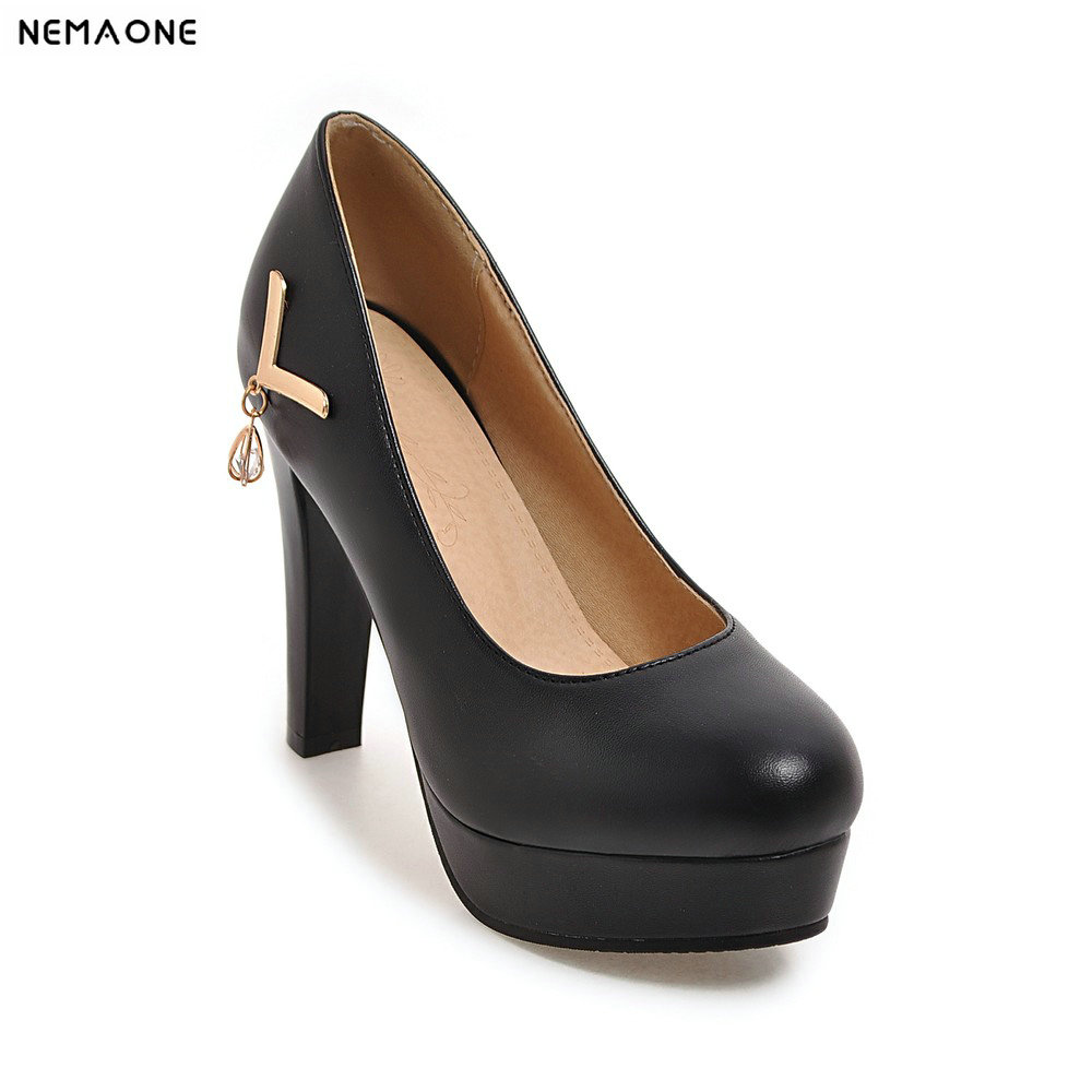 2019 rouned toe platform Women Pumps High Heels Shoes ...