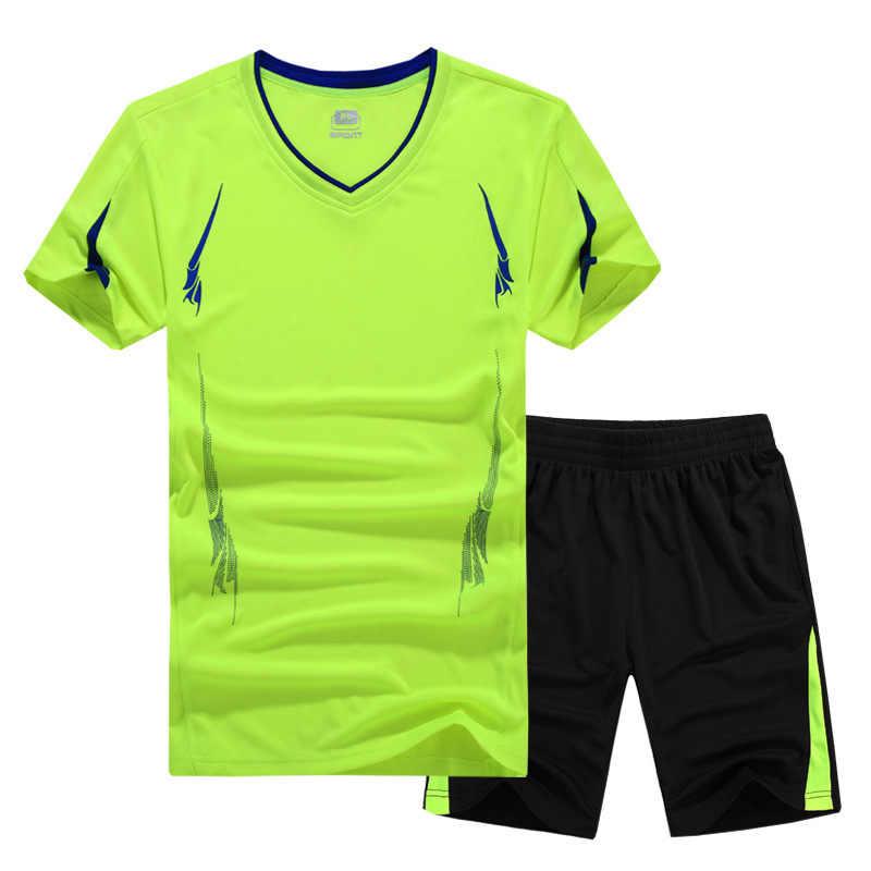 2017 Zomer Mannen Set Sporting Suit Korte Mouw T-shirt + Shorts Sneldrogende 2 stuk Set Sweatsuit Casual Mannelijke trainingspak Kleding