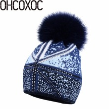 New Women winter hat pompoms Real Fox Fur Pom Poms wool Beanies Skullies woman fashion Cashmere Winter Hats brand