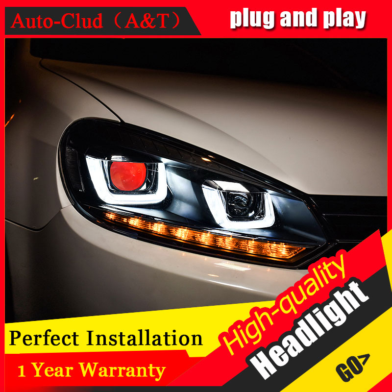 Auto Clud Car Styling For VW Golf 6 headlights 2010-2012 For Golf 6 head lamp led DRL front Bi-Xenon Lens Double Beam HID KIT free shipping for vland car styling head lamp for vw golf 7 headlights led drl led signal h7 d2h xenon beam