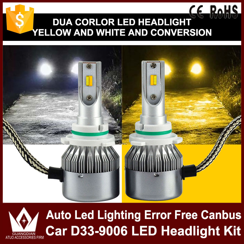 2PCS Car Headlights Kit LED Bulb D33 9006 Free Canbus Auto Led Lamps White Headlamp With Yellow Light For VW Volkswagen Golf 4