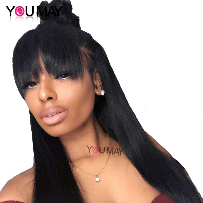 Pre Plucked 360 Lace Frontal Closure With Bang Straight 100 Brazilian Remy Hair Natural Black Free