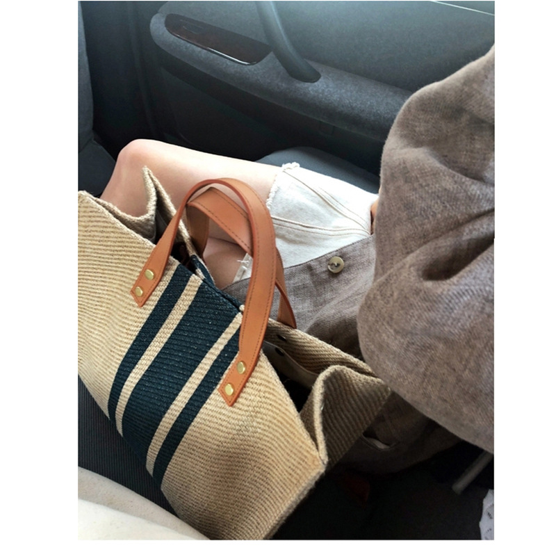 Flug Katze Fashion Women Linen Handbag Large Shopping Tote Holiday Big Basket Bags Summer Beach Bag Woven Beach Shoulder Bag 3