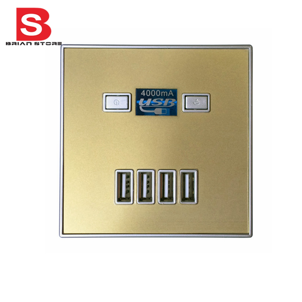 Switch Faceplate Socket With 4 Usb Port 5V 4A Wall Faceplate Power Outlet Panel