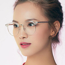 Round Womens Eyeglasses Frame Spectacles Glasses Transparent Metal Red Striped Classic Clear Lens Prescription