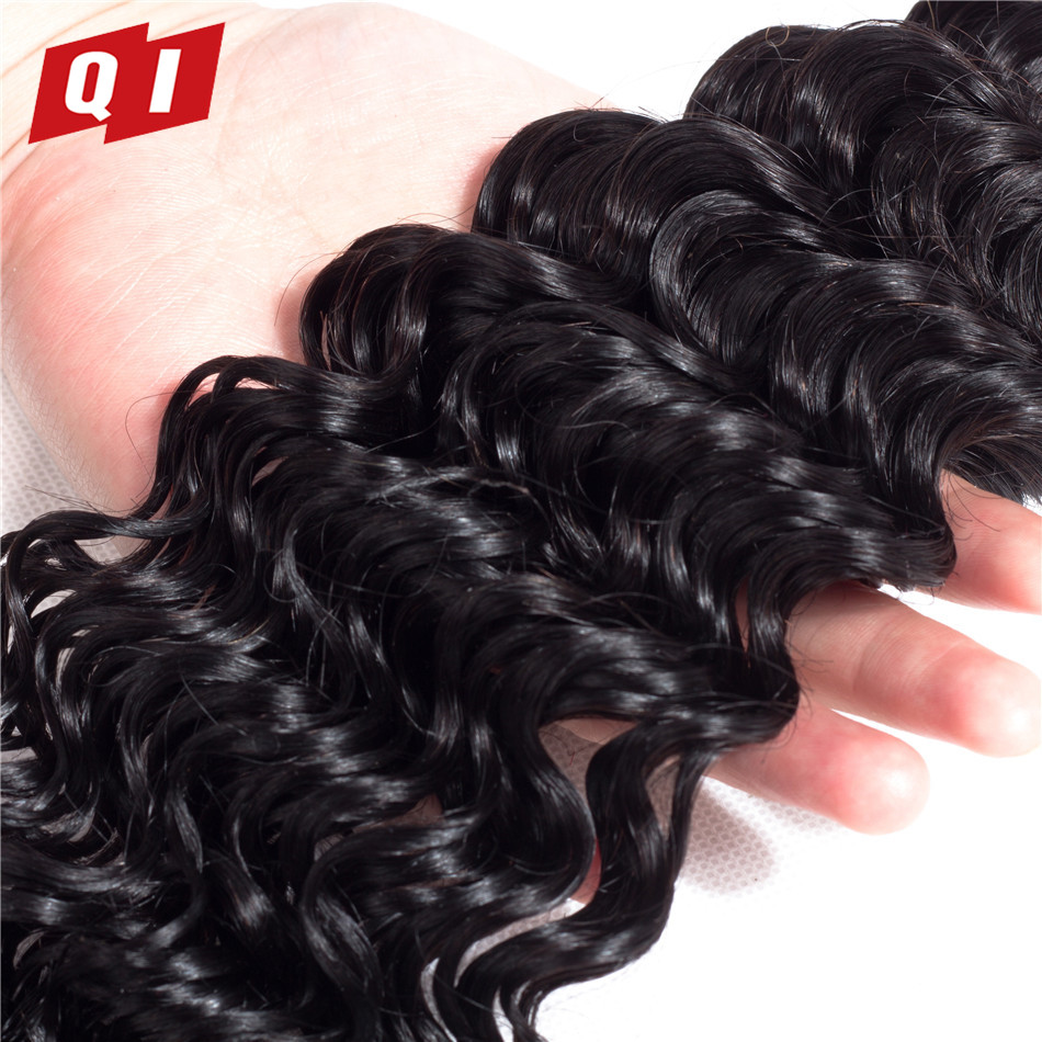 QI Hair 4 Bundles Non Remy 8-26 Inch 100% Mongolian Human Hair Natural Color Deep Wave Weave Bundles Hair Products