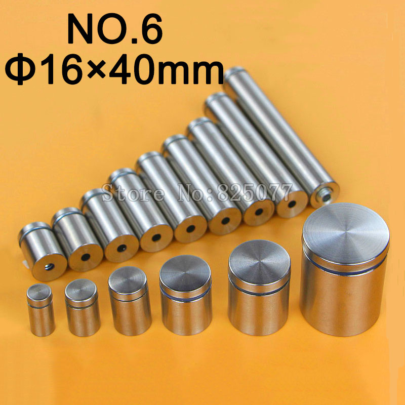 DHL 1000PCS Diameter 16x40mm Stainless Steel Standoffs Pin Nails Hollow Screw Acrylic Billboard Advertisement Fixing KF948