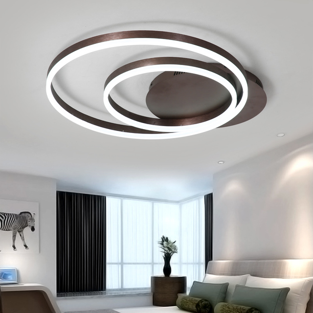 Modern Kitchen Kids Living room Ceiling Lights with remote control double circle plafon led flush mount Living room ceiling lamp