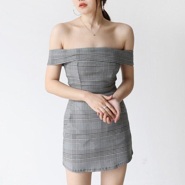 435464f4d49c Grey Plaid Wrap Dress womanSummer Purple Short Off Shoulder Vintage Woman  Clothes Tunic Womens Dresses New Arrival 2018 70Q262