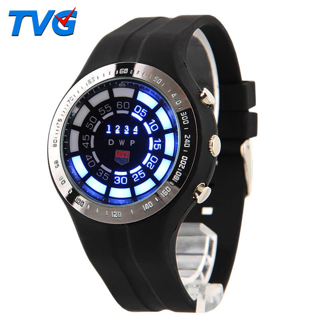 TVG LED Digital Watch Night Light Student Men Waterproof PU Strap Multifunction Round Dial Multi-display Luminous