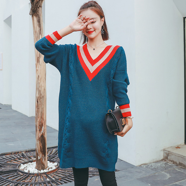 b814e54754 Autumn Winter Women Knitted Sweater Dress Female Loose Warm V-neck Sweaters  Dress Loose Maternity Dresses Y854