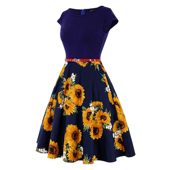 MISSJOY Plus size 4XL Dress kleding vrouwen Vintage Elegant Cap Sleeve Lemon Flower Print pin up fashionable dresses kerst jurk 3