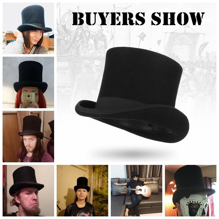 GEMVIE 17 cm Vintage sombrero para hombres de lana sombreros cilindro para las mujeres Sombrerero Loco plana Presidente fiesta Derby sombrero de mago tapa - 5