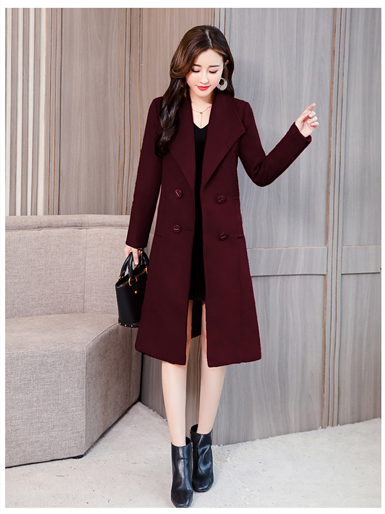 Woolen Coat Female Long Section Thick Loose Size Womens Double-breasted Long-sleeved Slim Straight Type