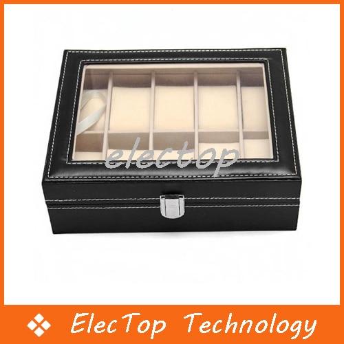 Fashion PU Leather 10 Grid Watch Box Display Box Storage Box Jewelry Box 10pcs/lot Wholesale
