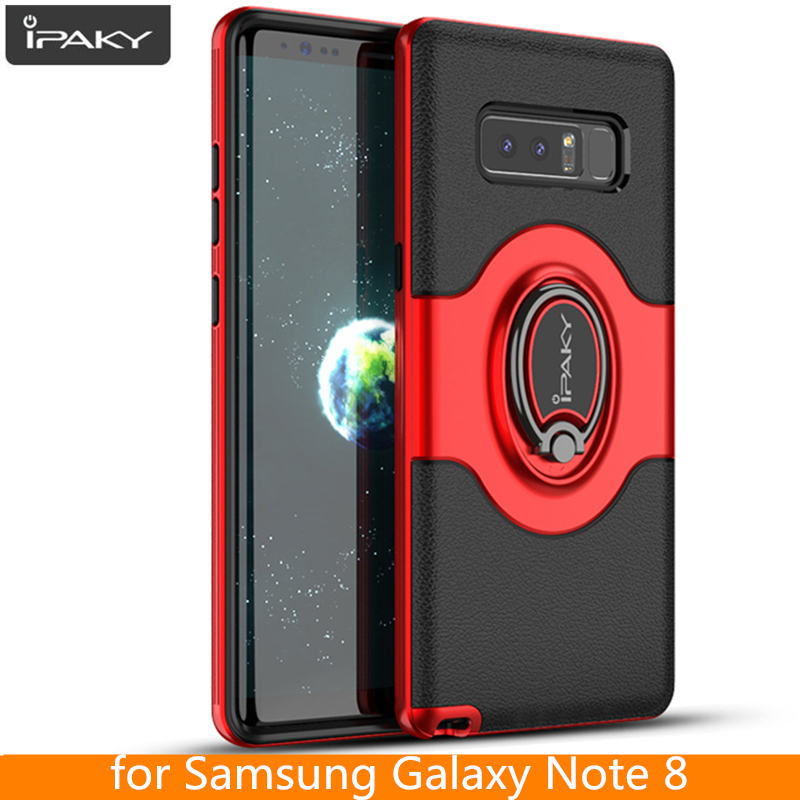 for Samsung Galaxy Note 8 Ring Case Magnetic Car Air Vent Holder iPaky Holder Luxury Kickstand Case for Samsung Note 8 Case