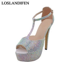 Summer Sandals Woman Sexy Silver Ankle Strap High Heel Bling Rhinestone Bride Bridesmaid Pumps Bridal Wedding Shoes NLK-A0148 big bow fashion wedding party pump shoe for woman coffee bows white ankle pearls rhinestone tg195 bridal brides bridesmaid shoes