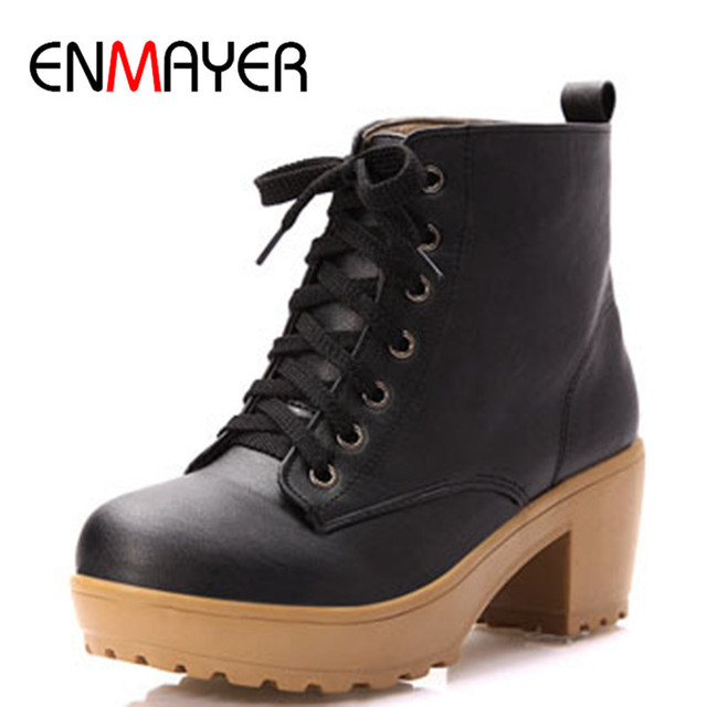 ENMAYER New Autumn Boots Spring Women Boots Artificial High Heel Platform Lace Up Ankle Boots Girls Shoes Big Size 34-43 Boots