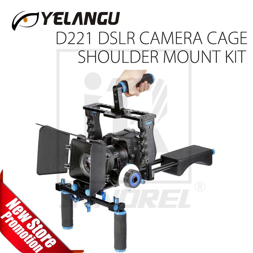 YELANGU D221 Professionnel DSLR Vidéo Rig Épaule Caméra Stabilisateur Matte Box Follow Focus Cage pour Canon Nikon Sony DSLR
