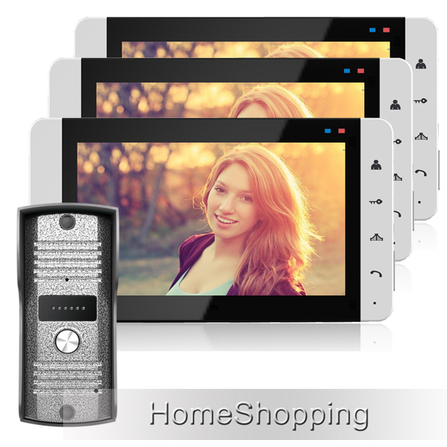 FREE SHIPPING Home Wired 7 inch Color TFT Touch Video Doorphone Intercom Kit / Set With 3 White Screens + Door Camera IN STOCK