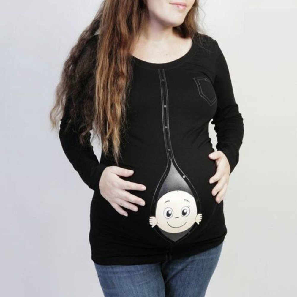 9aa32d2667 Trendy Tops For Pregnant Women Maternity Baby Peeking T Shirt Funny  Pregnancy Tee Expecting Photography Props
