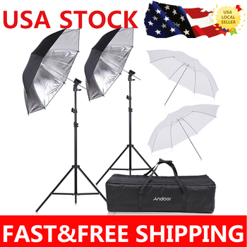 Andoer Speedlight Flash Shoe Mount Swivel Soft Umbrella Kit +Brackets+Light Stand +Soft Umbrella for Canon Nikon Hot Shoe Flash
