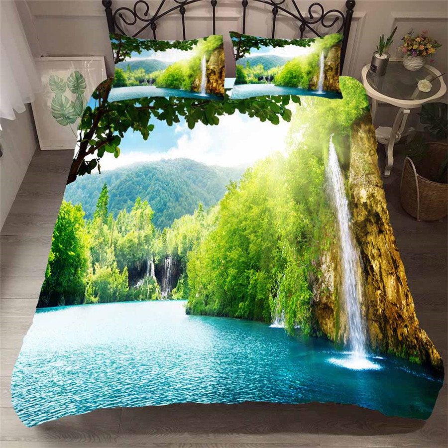 Bedding Set 3D Printed Duvet Cover Bed Set Forest waterfall Home Textiles for Adults Bedclothes with Pillowcase #SL06-in Bedding Sets from Home & Garden