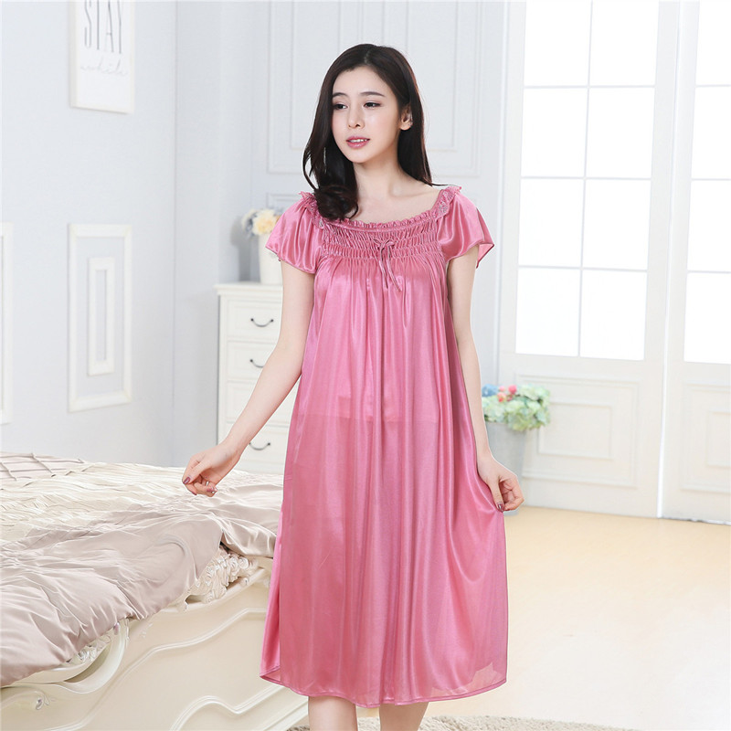 Lace   Nightgowns     Sleepshirts   Sexy Sleepwear for Women Short Sleeve Summer Dresses Babydoll Sleepwear Nightwear Vestidos big yards
