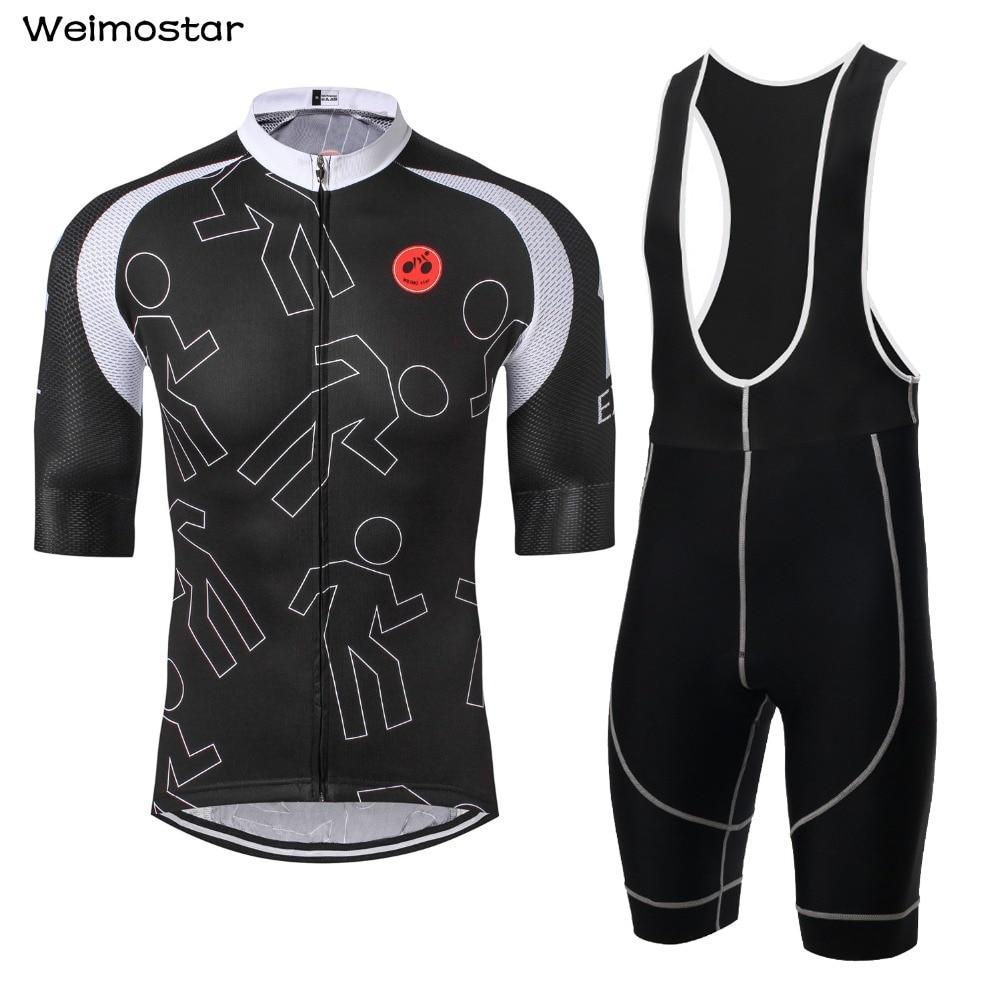 Weimostar Black Men Pro Bicycle Wear MTB Cycling Clothing cycling sets Bike uniform Cycle shirt Summer cycling jersey set