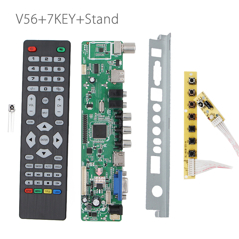 V56 Universal LCD TV Controller Driver Board PC/VGA/HDMI/USB Interface +7 key board+baffle Stand USB play multi-media v29