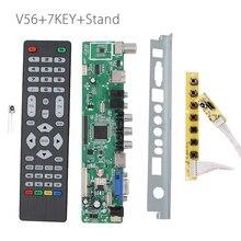 V56 Universal TV LCD Tablero de Conductor Del Controlador PC/VGA/HDMI/USB Interfaz + 7 teclado + deflector Soporte USB de reproducción multimedia v29