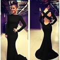 New Hot Sexy Bodycon Women Long Sleeve Deep Backless Bandage Long Maxi Dress Cross Strap Elegant Long Evening Party Gown