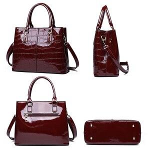 Image 3 - Fashion 3 Sets Women Handbags 2020 High Quality Patent Leather Women Luxury Brands Tote+Ladies Shoulder Messenger Bag+Clutch S