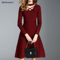 Gothic Choker Neck Long Sleeve A Line Dress Black Wine Red Autumn Dress Cross Hollow Out