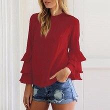 274a03afa1c 2019 Spring New Long Fold Sleeve Women Back Button Hollow Out Sexy Fashion  Women Blasas Thin