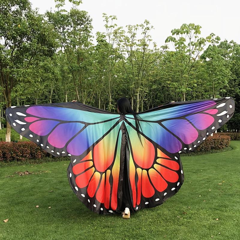 Stage Performance Props Women Dancewear Fairy Cape Polyester Dance Isis Wing Chiffon Butterfly Wings Belly Dance Cloak 24 Style